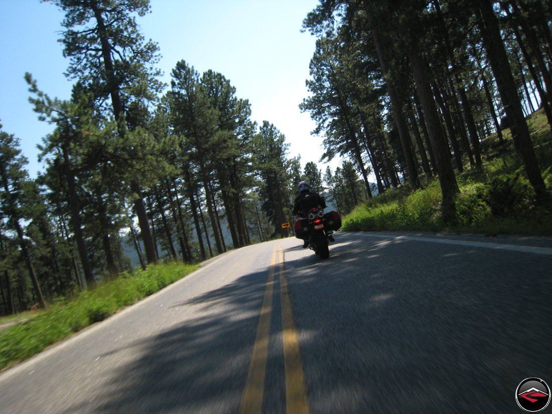 Riding a Ducati Multistrada Motorcycle on the Norbeck Scenic Byway in the Black Hills of South Dakota