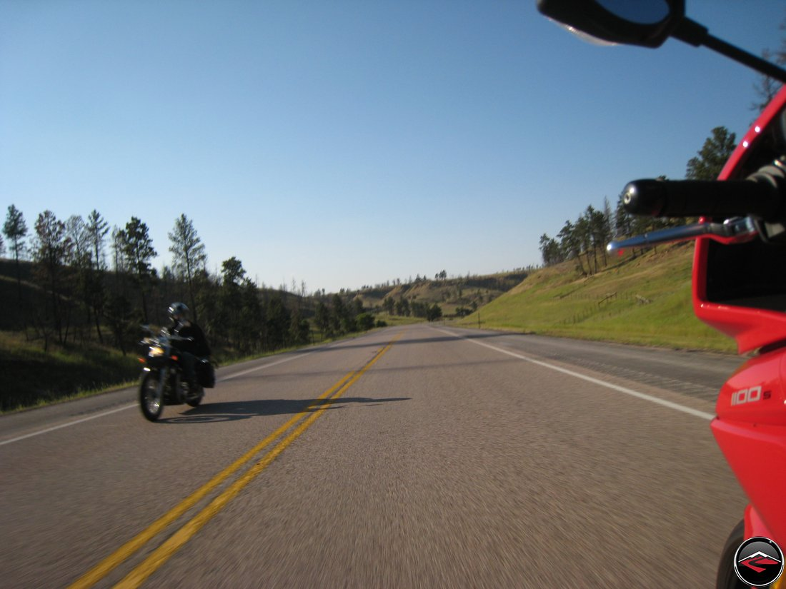 Motorcycles riding near Devils Tower in Wyoming