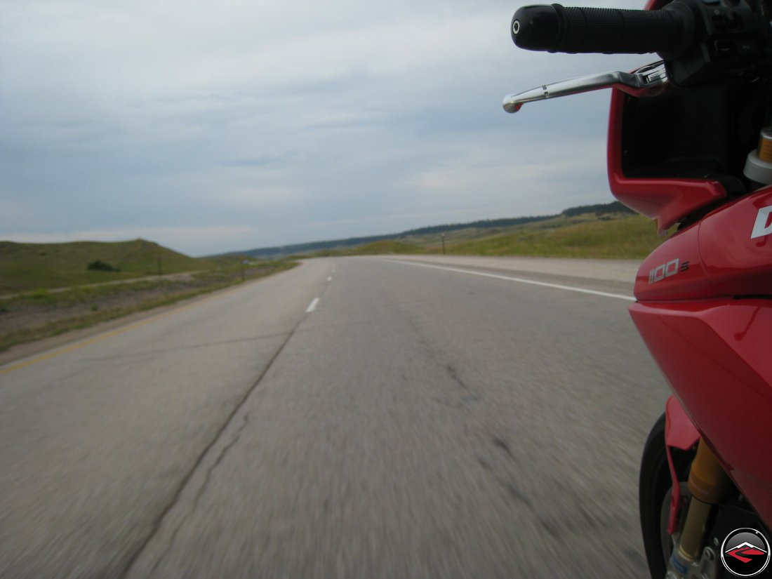 Crossing wyoming on a Ducati Multistrada motorcycle