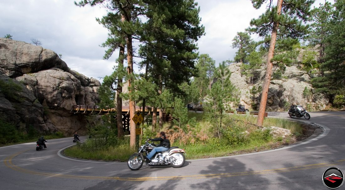 Motorcycle Ridings around the Pigtail Bridges on the Norbeck Scenic Byway in South Dakota
