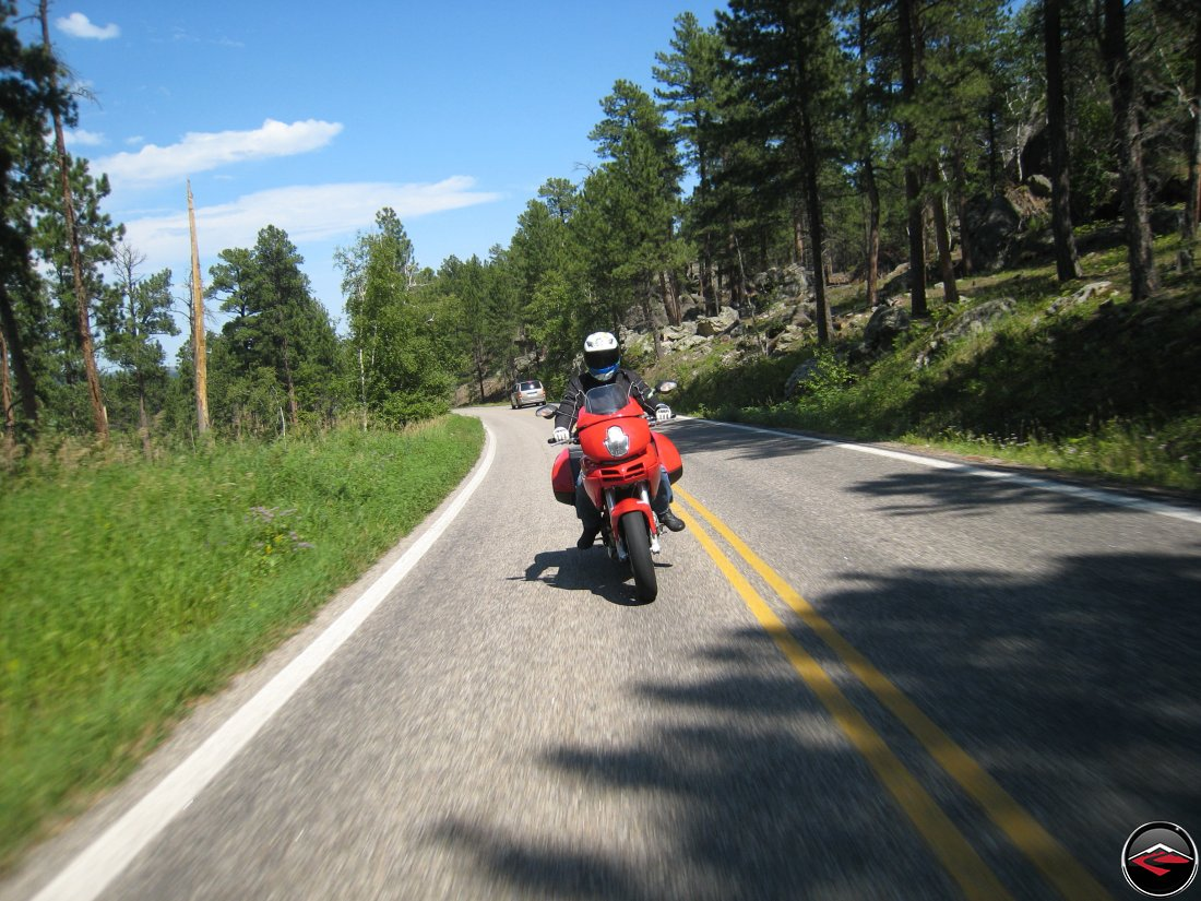Riding a Ducati Multistrada Motorcycle through the Norbeck Scenic Byway in South Dakota
