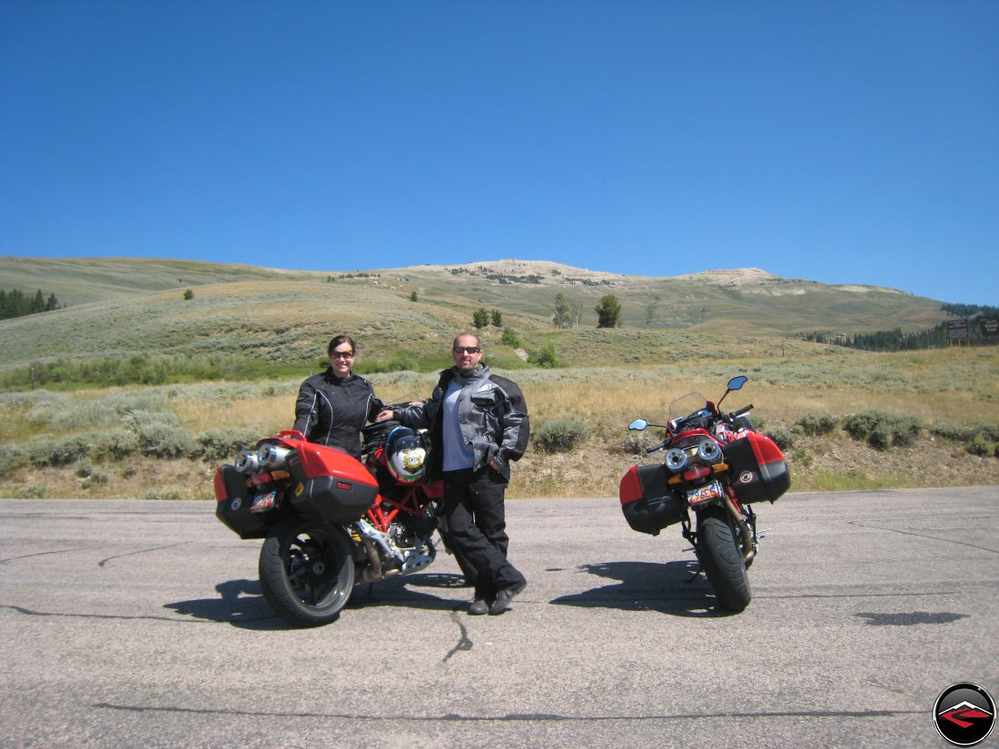 Dave and Kris with their Ducati Multistrada's on top of the Big Horn Mountains