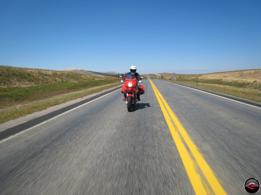 Ducati Multistrada riding over the Big Horn Mountains in Wyoming