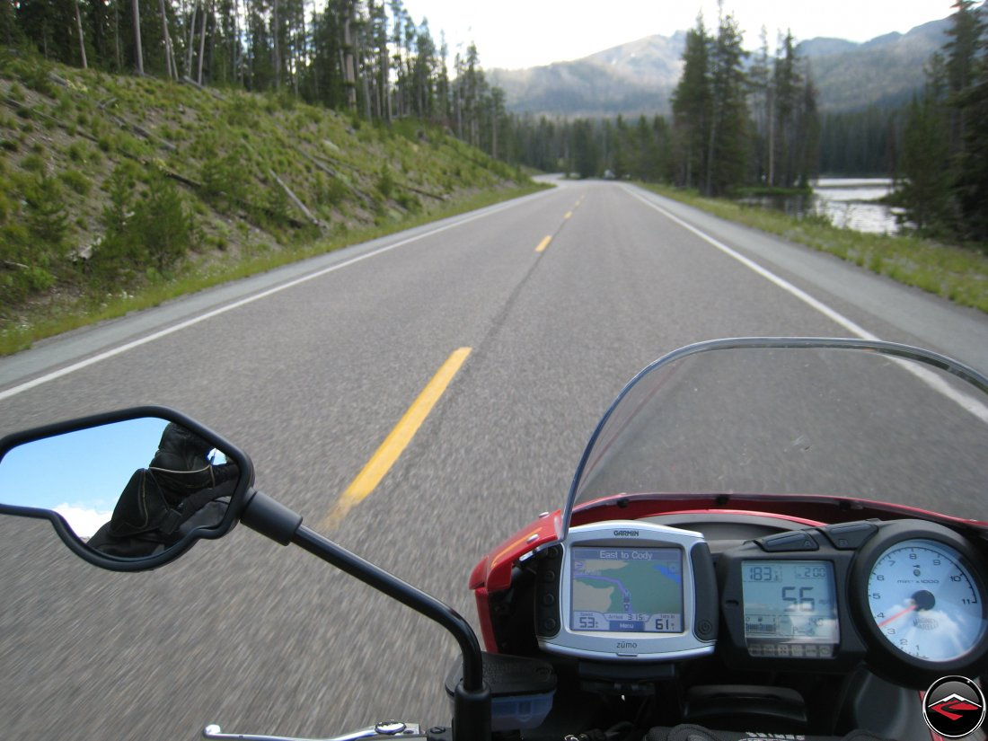 Ducati Multistrada guages with GPS riding east to Cody Wyoming inside of Yellowstone National Park