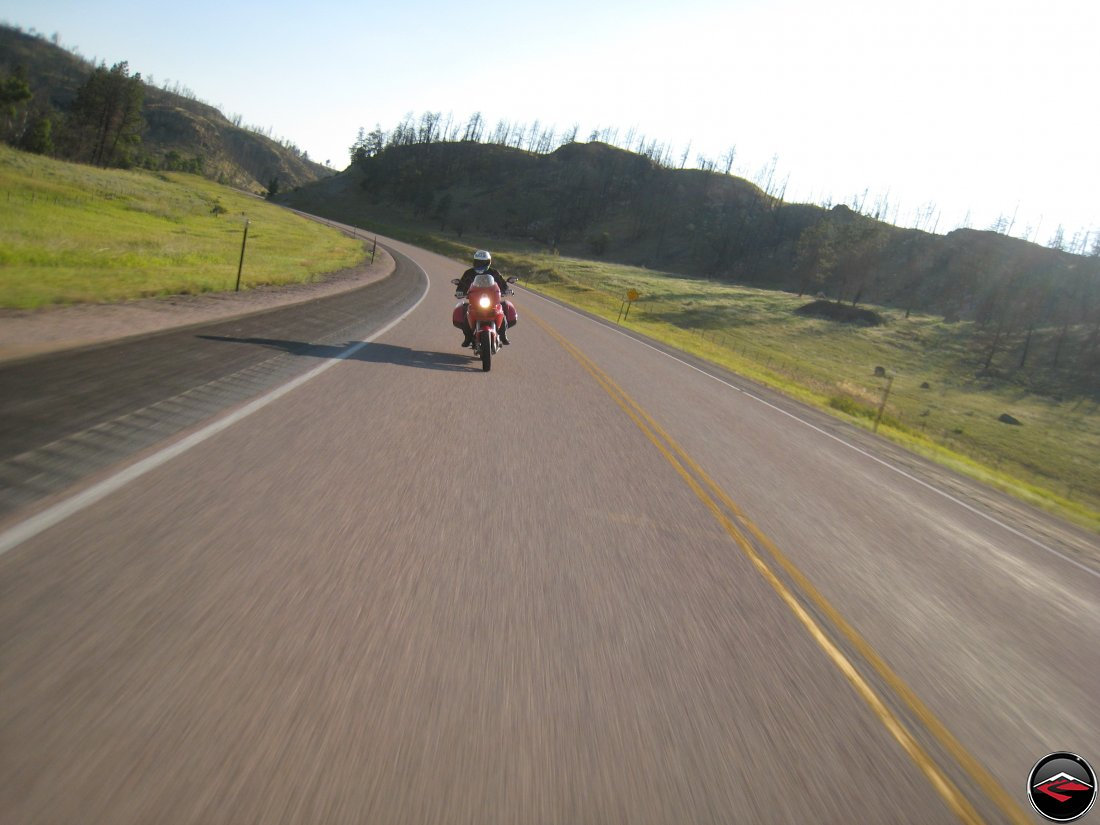 Ducati Multistrada motorcycle riding near Devils Tower