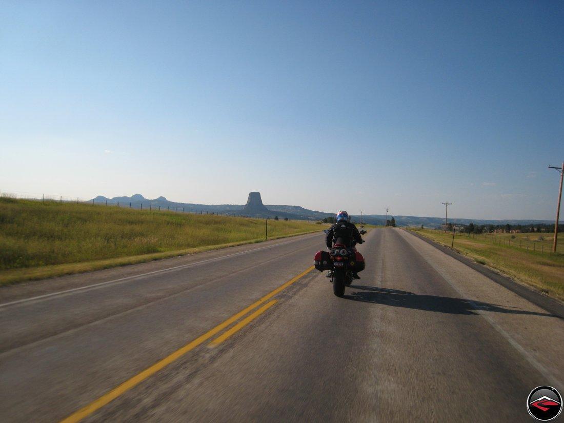 Ducati Multistrada nearing Devils Tower in Wyoming