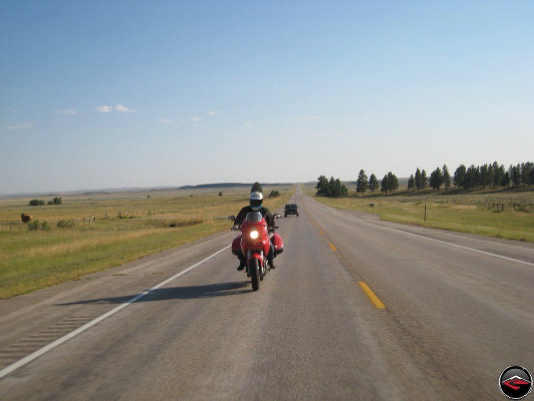 Ducati Multistrada riding near Devils Tower in Wyoming