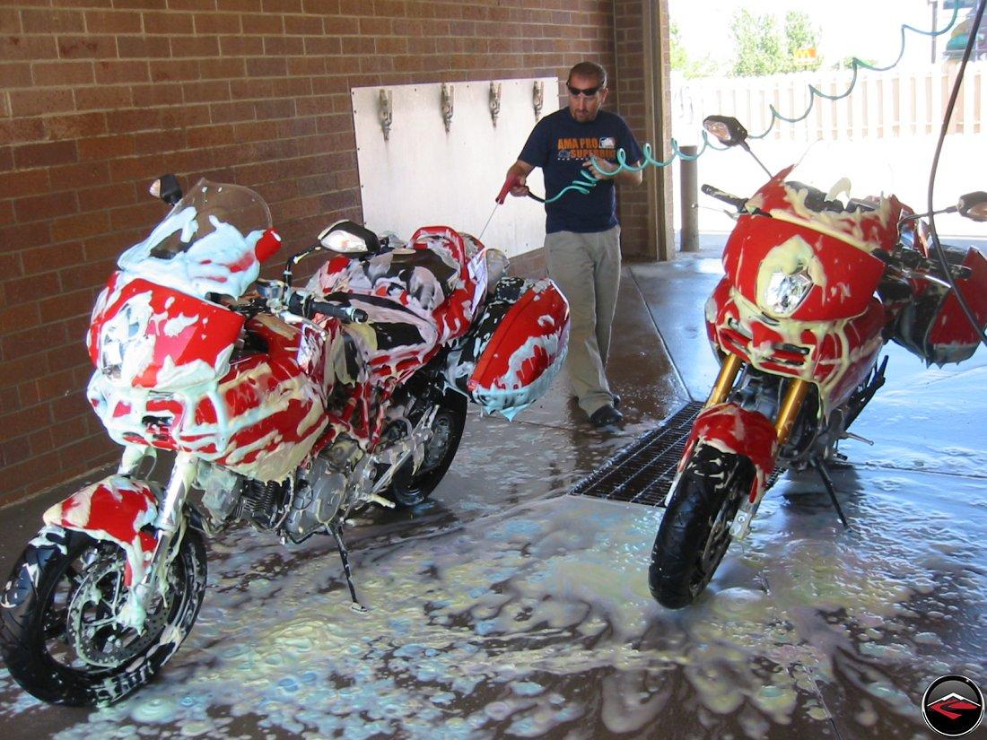 washing to Ducati Multistrada motorcycles at a Car Wash