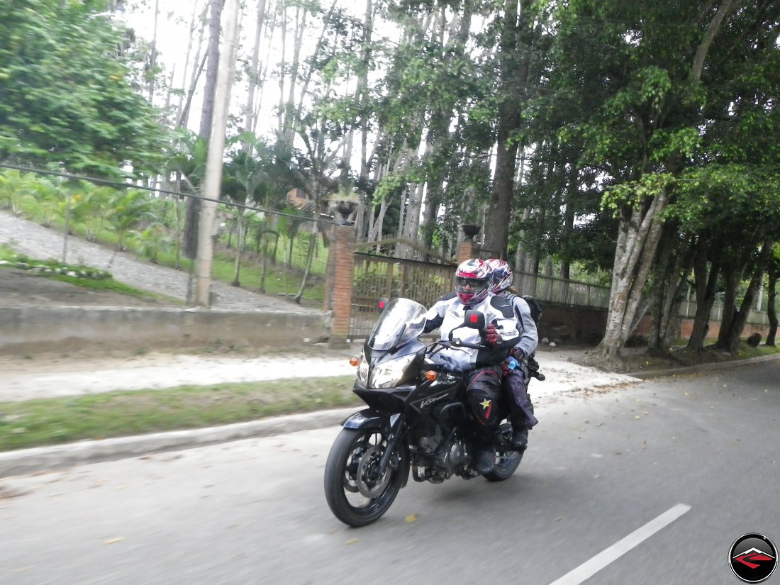 Gary and Phylis riding two-up on a Suzuki V-Strom 650 in Jarabacoa, Dominican Republic