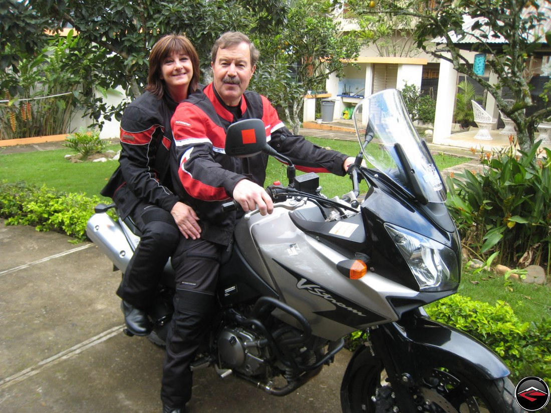 Don and Shirly, two-up on a Suzuki V-Strom 650