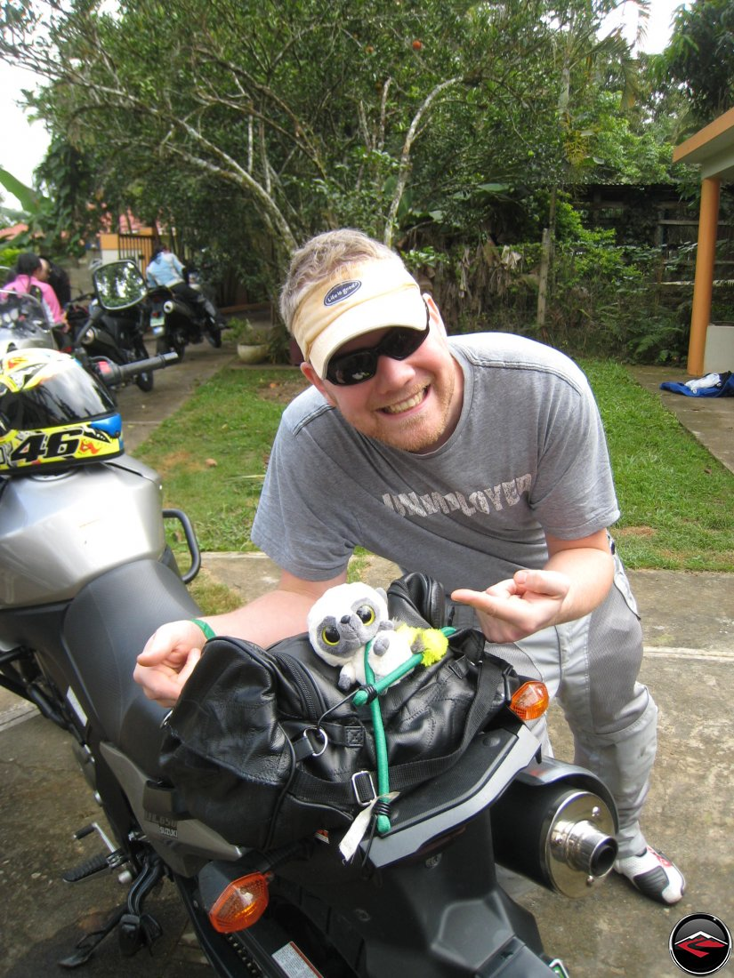 Packing a stuffed animal named Stuart on the back of a Suzuki V-strom 650