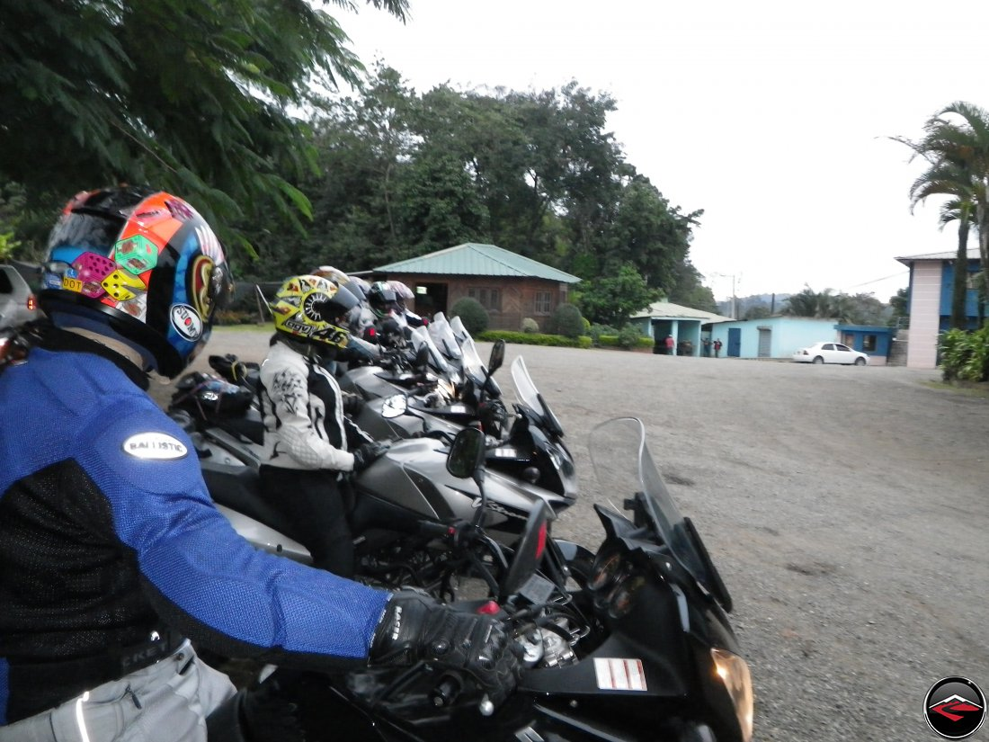 Motorcycles lined up in the parking lot of Cafe Monte Alto in Jarabacoa Dominican Republic