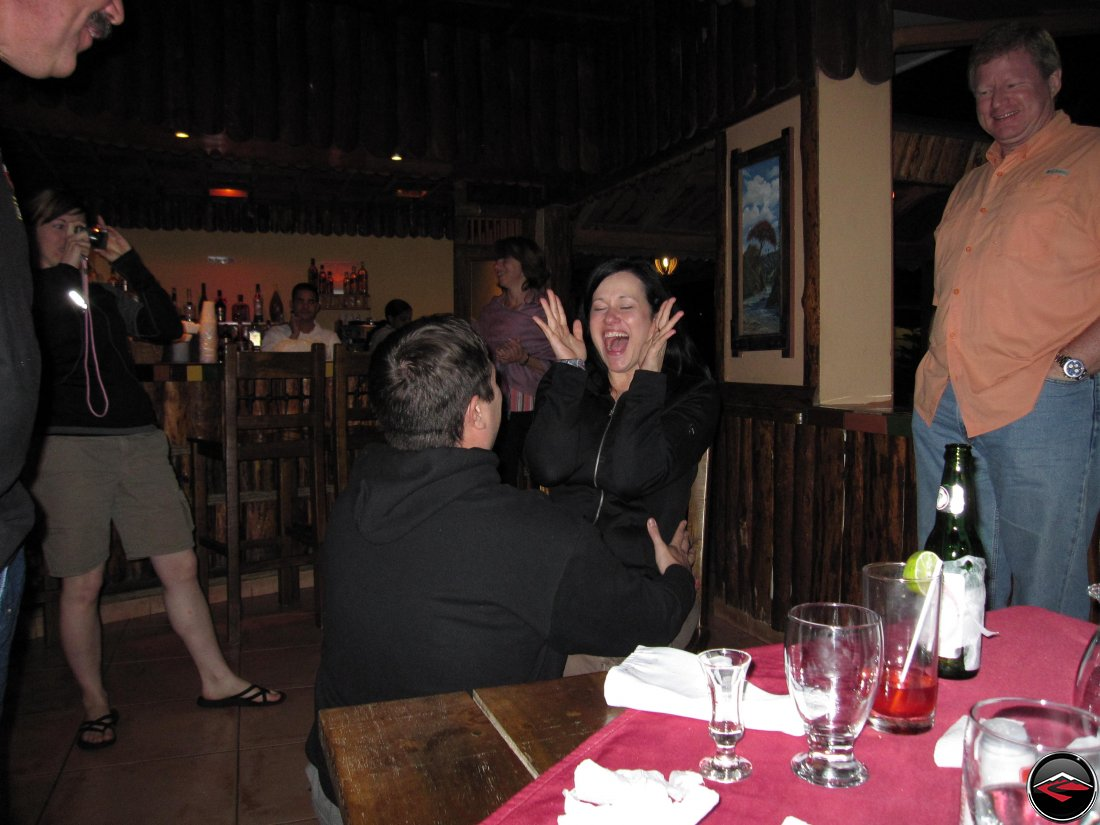 Guy sings Happy Birthday to a girl on her birthda at the Hotel Gran Jimenoa in Jarabacoa Dominican Republic