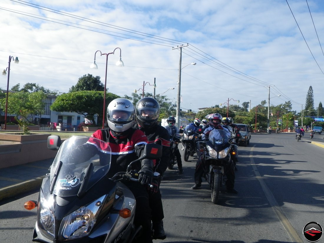 Motorcycles stopped in traffic in Moca Domincan Republic