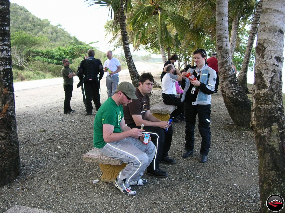 Motorcyclists stopping for a snack along Highway 5 on the North Coast of the Dominican Republic