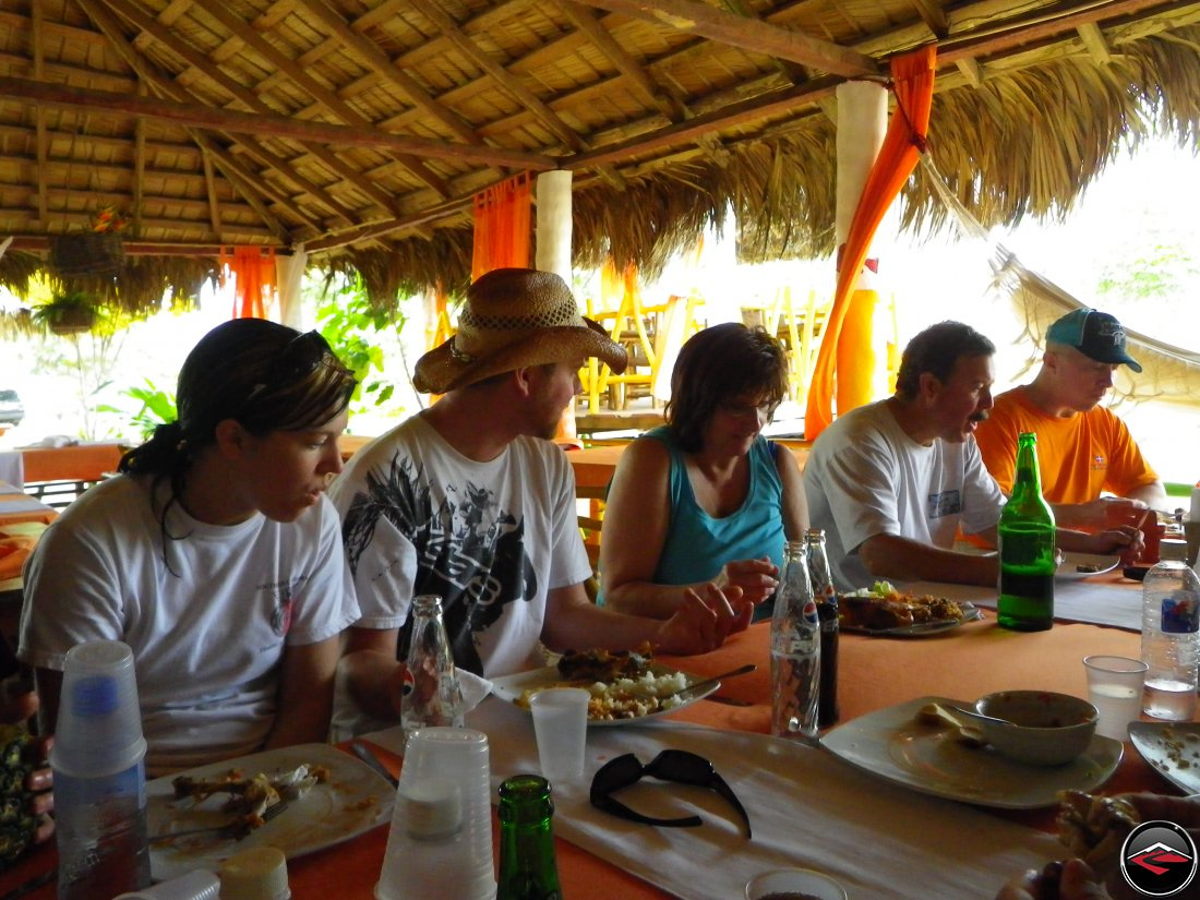 eating lunch in a caribbean villa on the beach Playa Rincon Dominican Republic