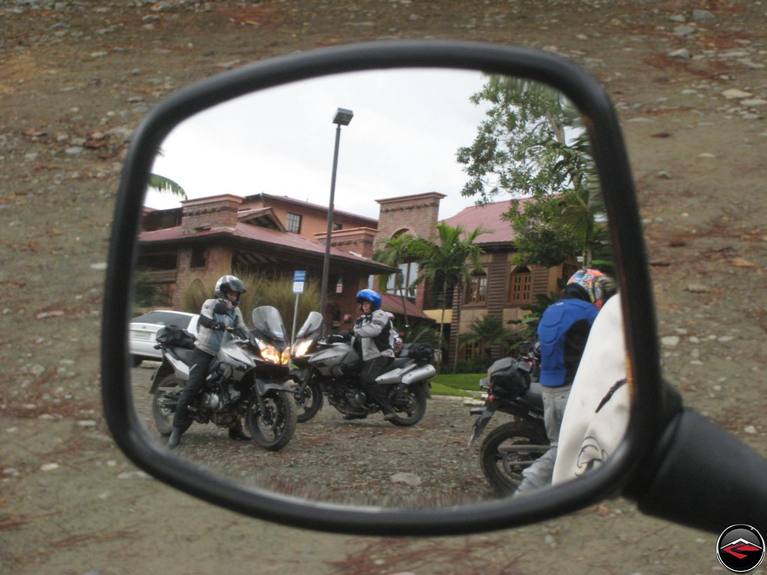 motorcycles in the rear-view mirror