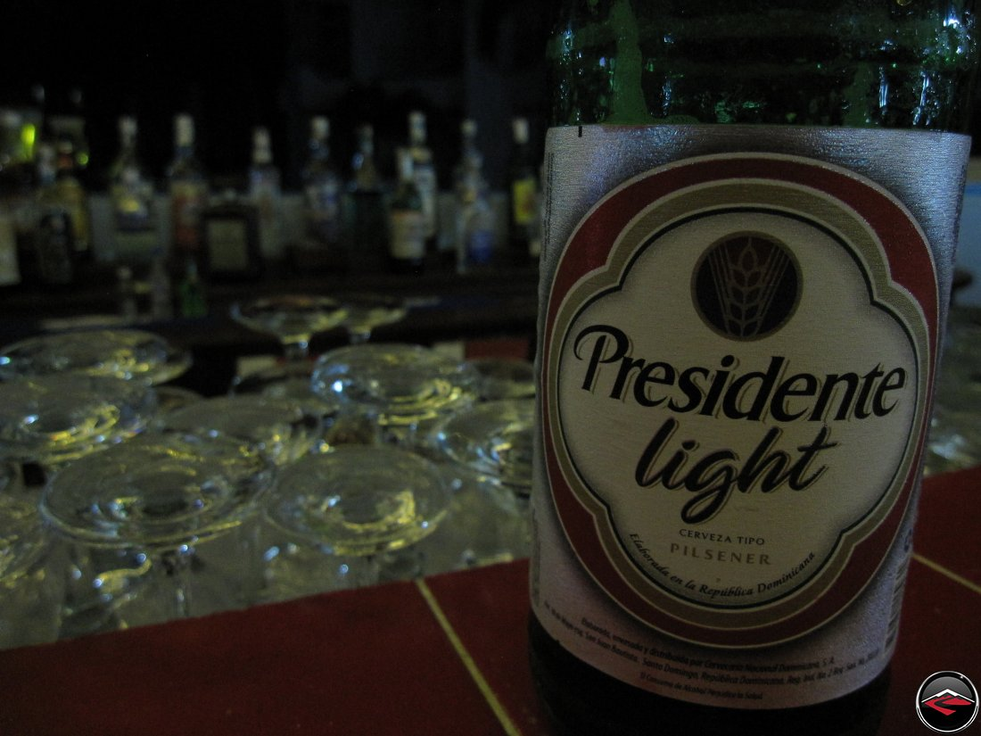 presidente light bottle sitting on the bar