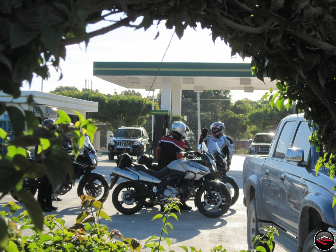 motorcycles getting fuel first thing in the morning