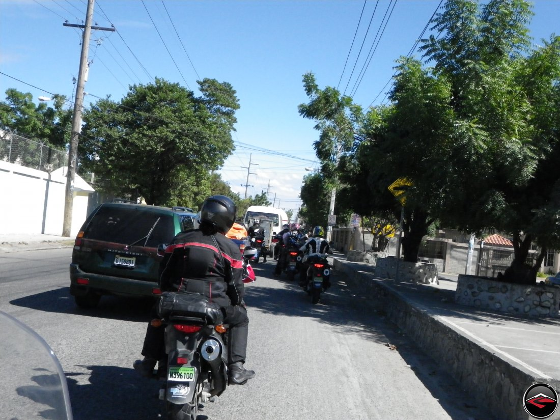 motorcycles navigating heavy dominican republic traffic