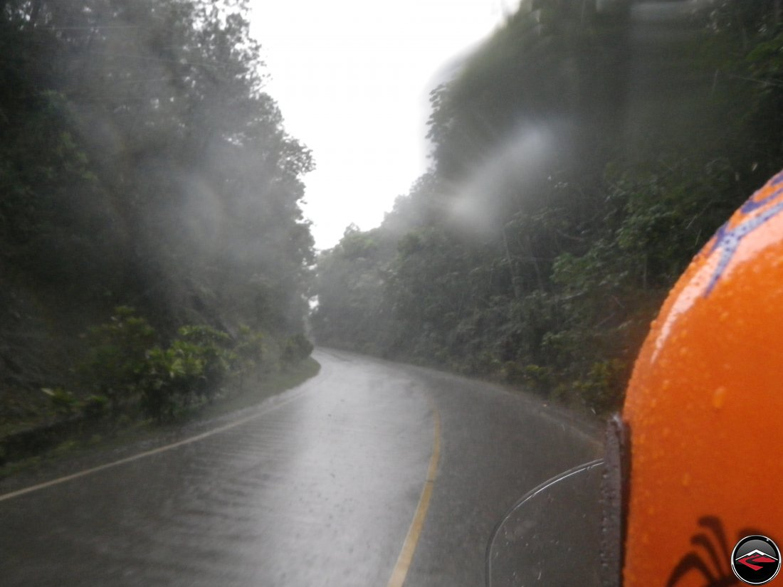 riding a motorcycle in heavy rain