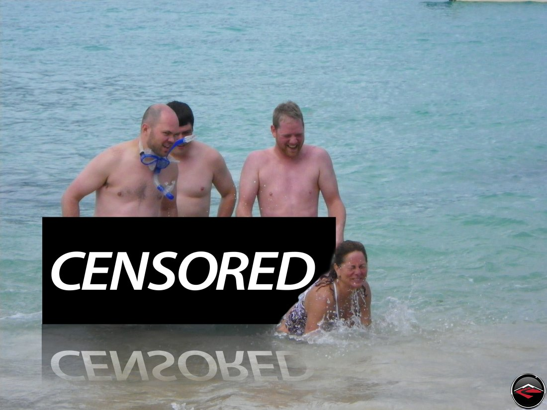 naked men on the beach; Censored Playa Rincon Dominican Republic