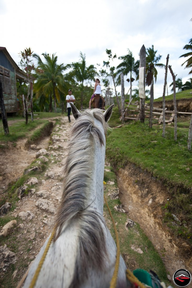 view from the saddle of a horse riding over a ridge on a caribbean island Cascada El Limon Dominican Republic