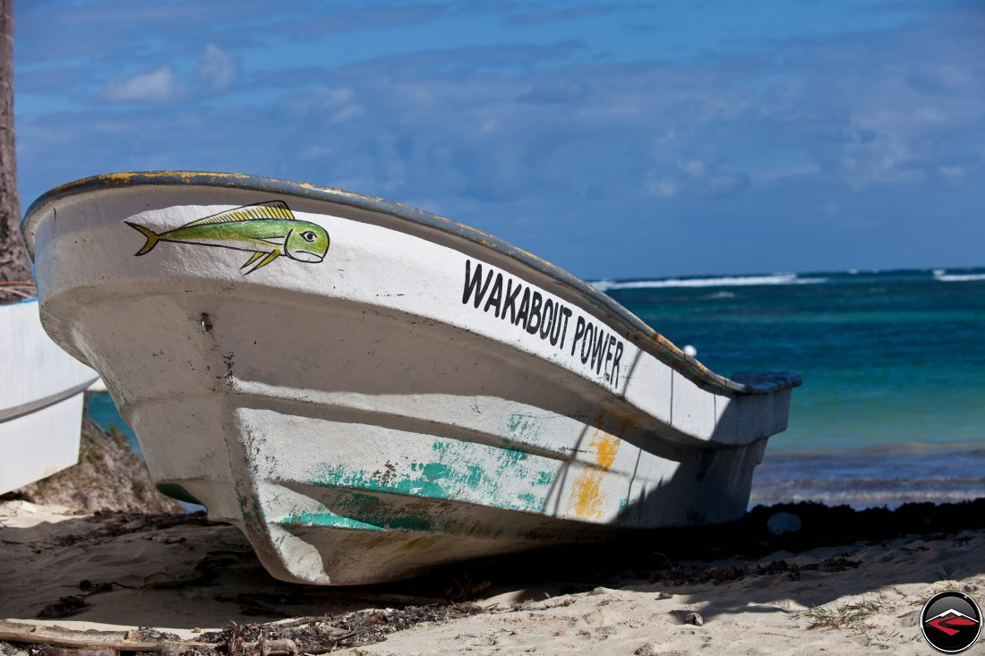 fishing boat on the beach in the dominican republic, caribbean island