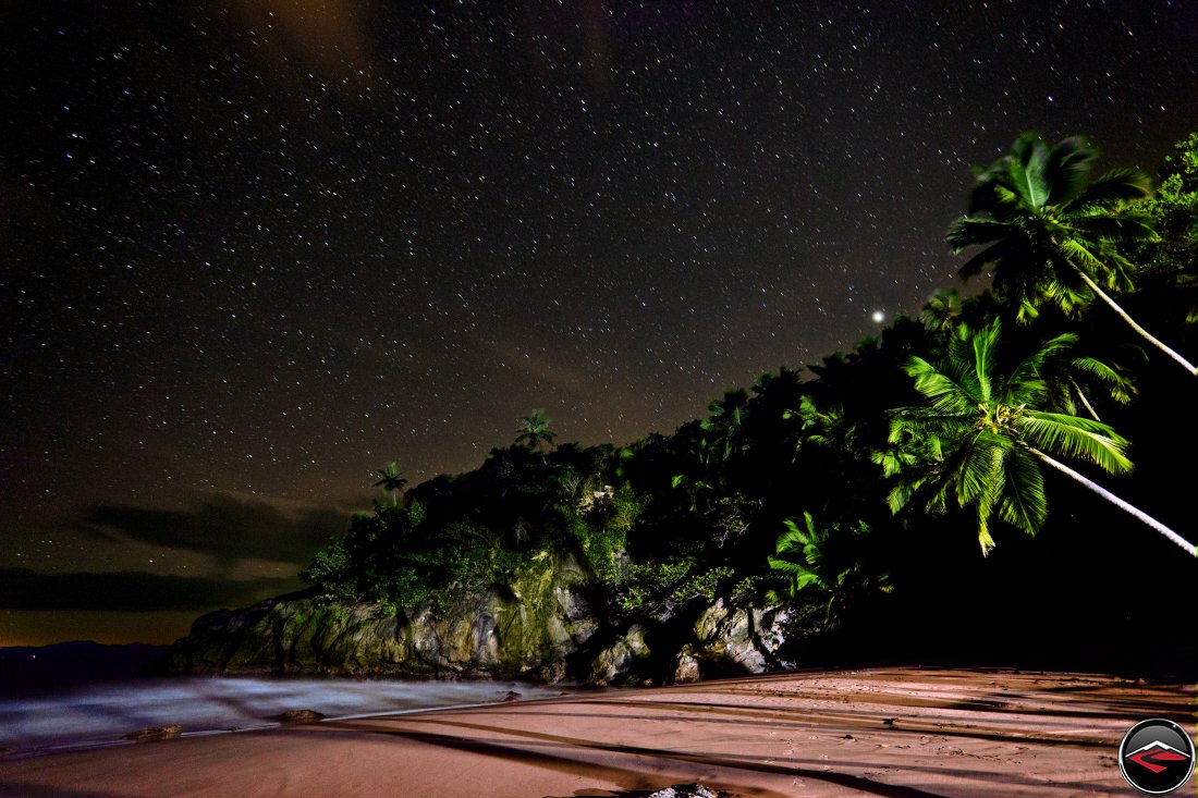 Dominican Republic beach at night under starry sky