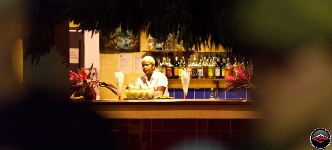 bartender making drinks at a Dominican Republic bar