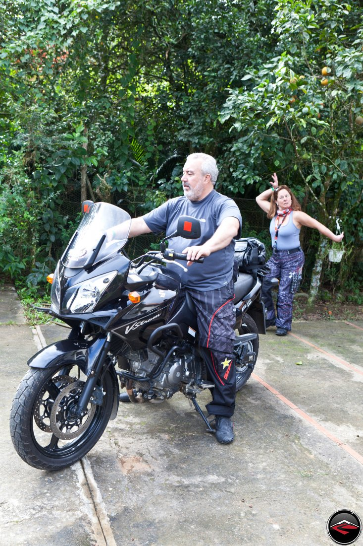 Gary and Phylis making sure the mirrors are adjusted correctly on the Suzuki V-Strom 650