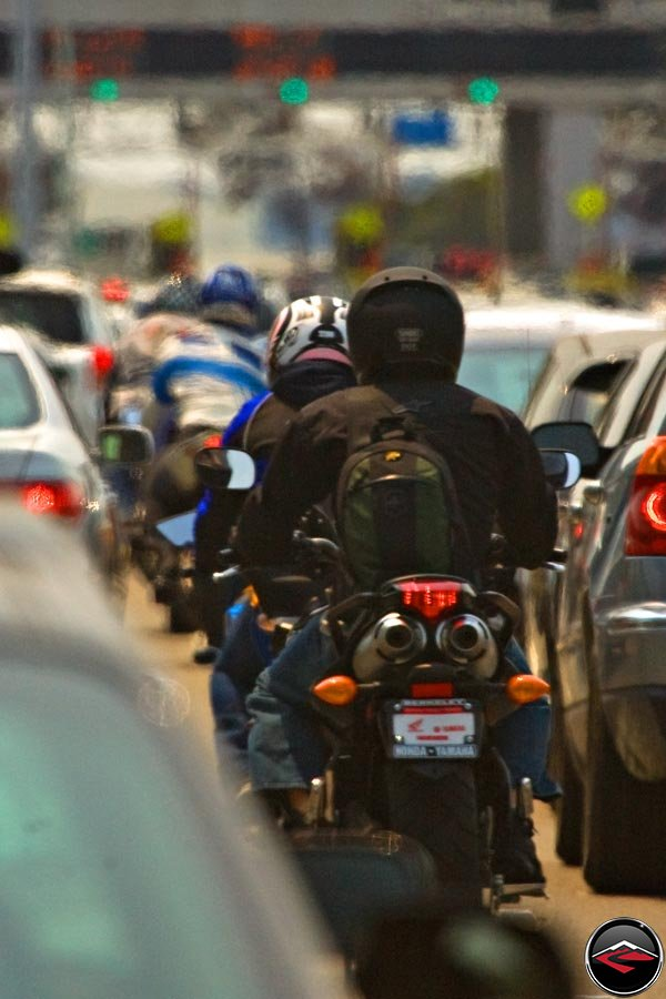 Motorcycles Lane Splitting in California