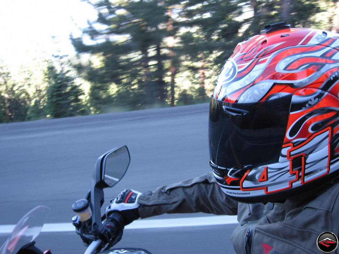 Riding a Ducati Multistrada 1200 along Nevada Highway 431 near Lake Tahoe, while wearing a Dianese D-Dry Motorcycle Coat and a Haga replica Arai Helmet