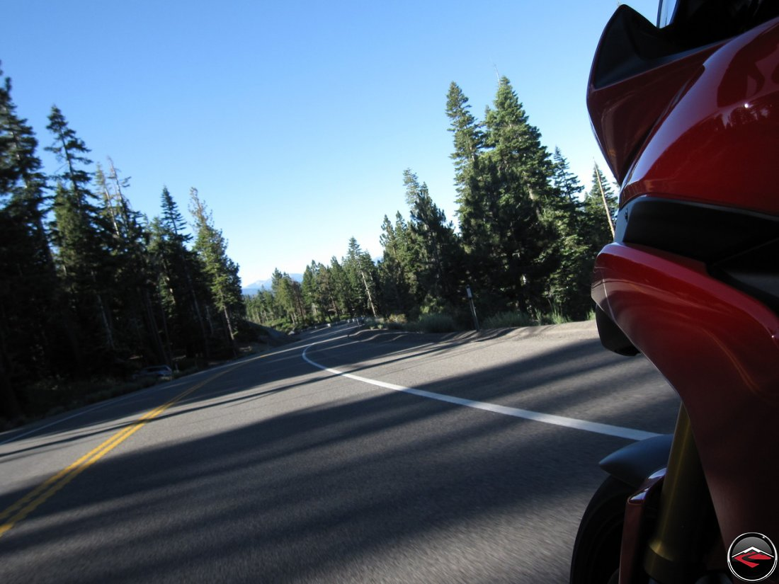 Riding a Ducati Multistrada 1200 through a corner along Nevada Highway 431 near Lake Tahoe