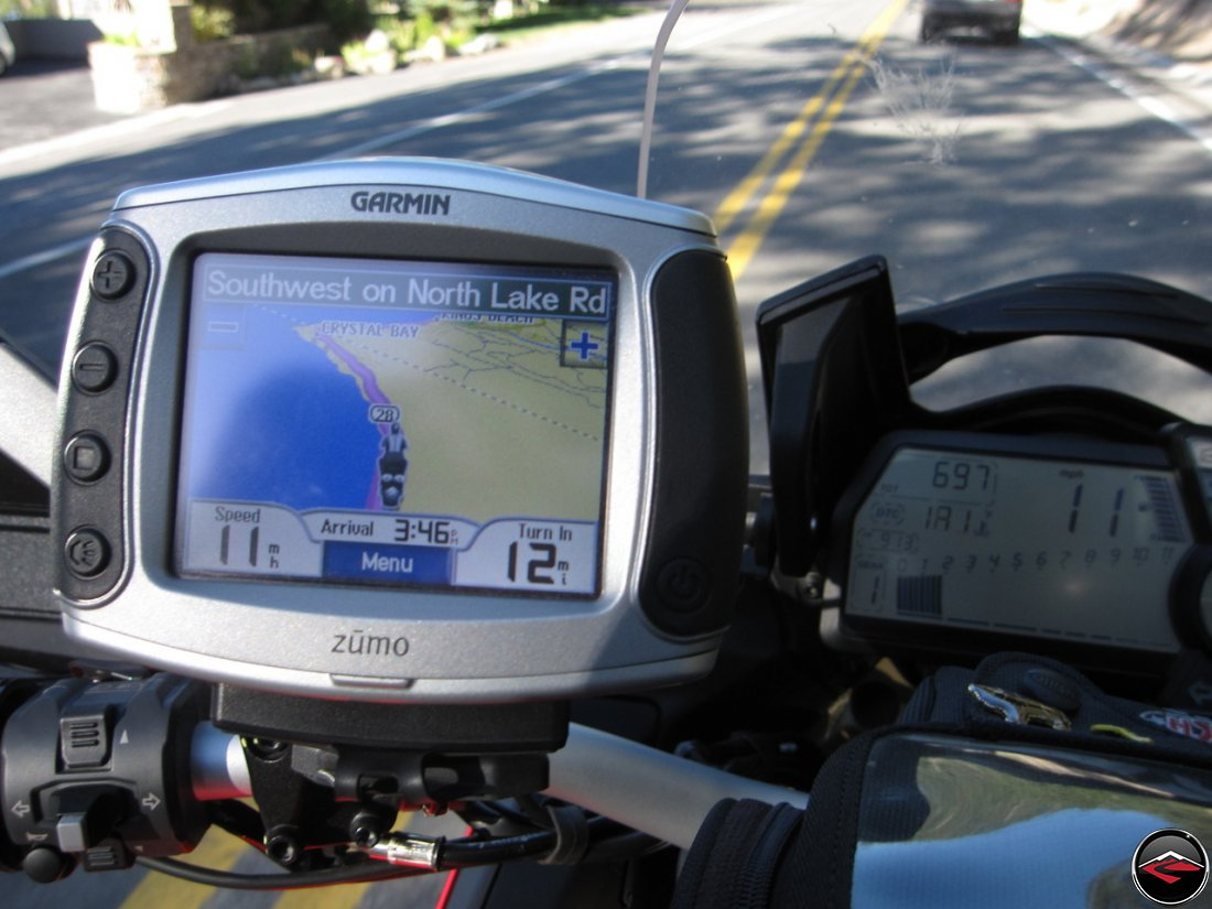 Garmin Zumo 450 mounted on a Ducati Multistrada 1200, riding Nevada Highway 28, North Lake Road, near Crystal Bay on Lake Tahoe