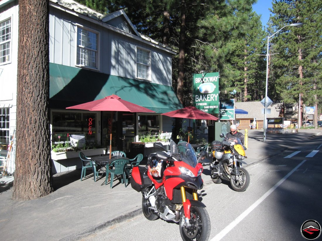 Ducati Multistrada and Buell Ulysses Stopping for Coffee at Brockway Bakery in Lake Tahoe, California