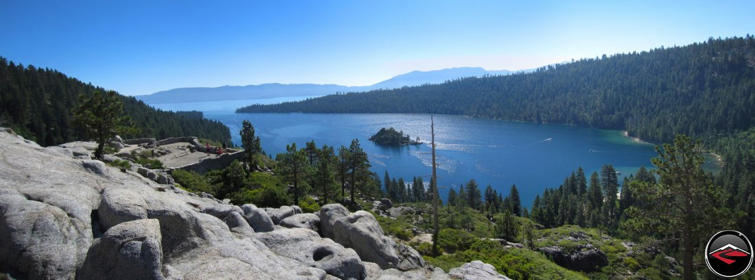 Panorama of Vikingsholm viewpoint, overlooking Emerald Bay, Fanette Island, Lake Tahoe and the Tea House