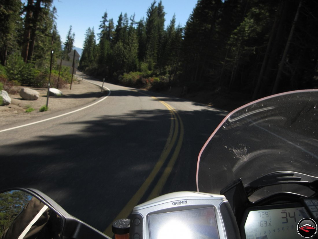 Riding a Ducati Multistrada 1200 along California Highway 89, Luther Pass Road, just south of Lake Tahoe