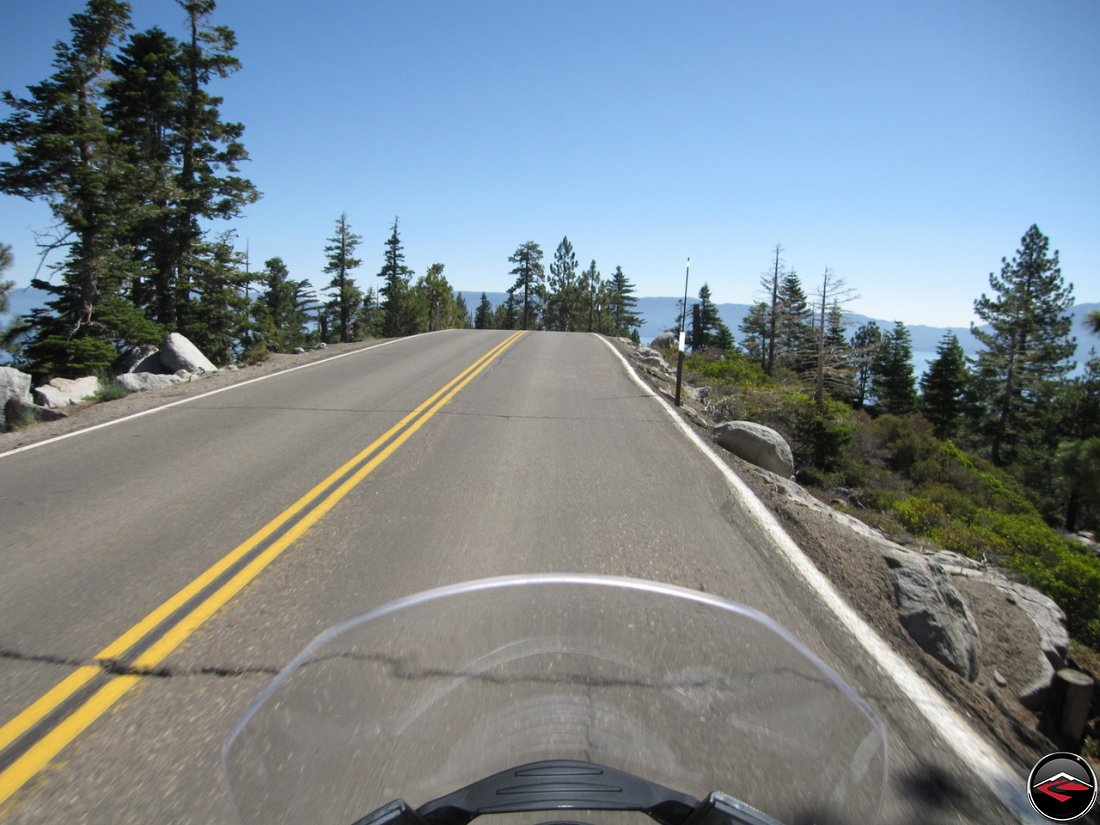 Not much of a shoulder while riding a Ducati Multistrada 1200 along California Highway 89, Emerald Bay Road, along Lake Tahoe