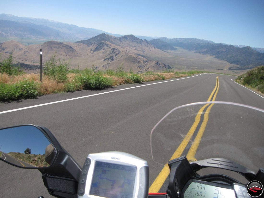 The most scenic part of California Highway 89, Monitor Pass, Robert M. Jackson Memorial Highway. Garmin Zumo 450 attached to the handlebars of a Ducati Multistrada 1200
