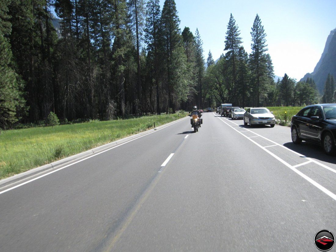 Tom riding his Buell Ulysses into Yosemite National Park along Southside Drive