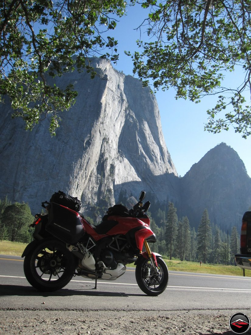 Ducati Multistrada 1200 in California's Yosemite National Park, in front of El Capitan, Kriega US-20 tailbag