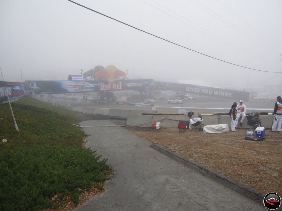 Early morning fog at Mazda Laguna Seca Raceway, near turn 11, during free practice one of the 2012 MotoGP Grand Prix