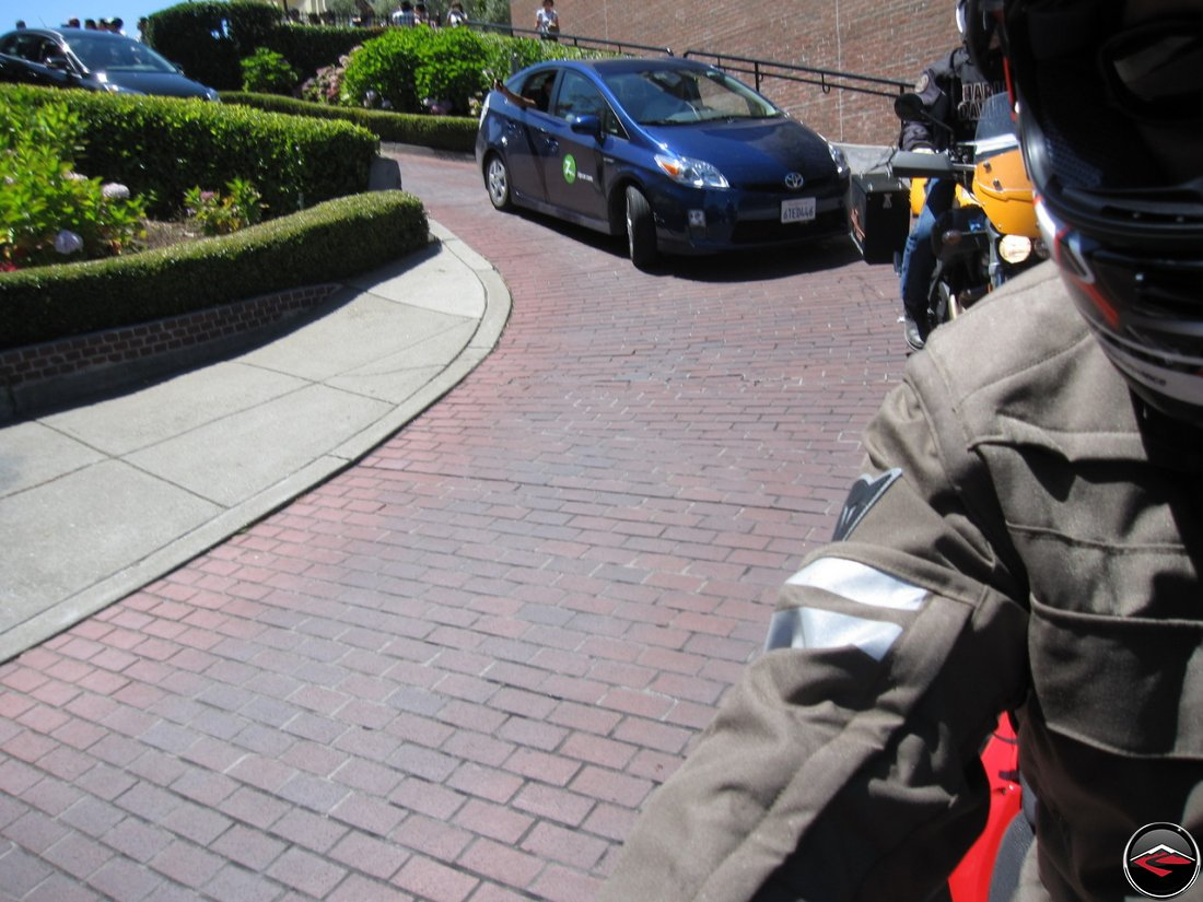 Riding a Ducati Multistrada 1200 and Buell Ulysses down Lombard Street in San Francisco, California