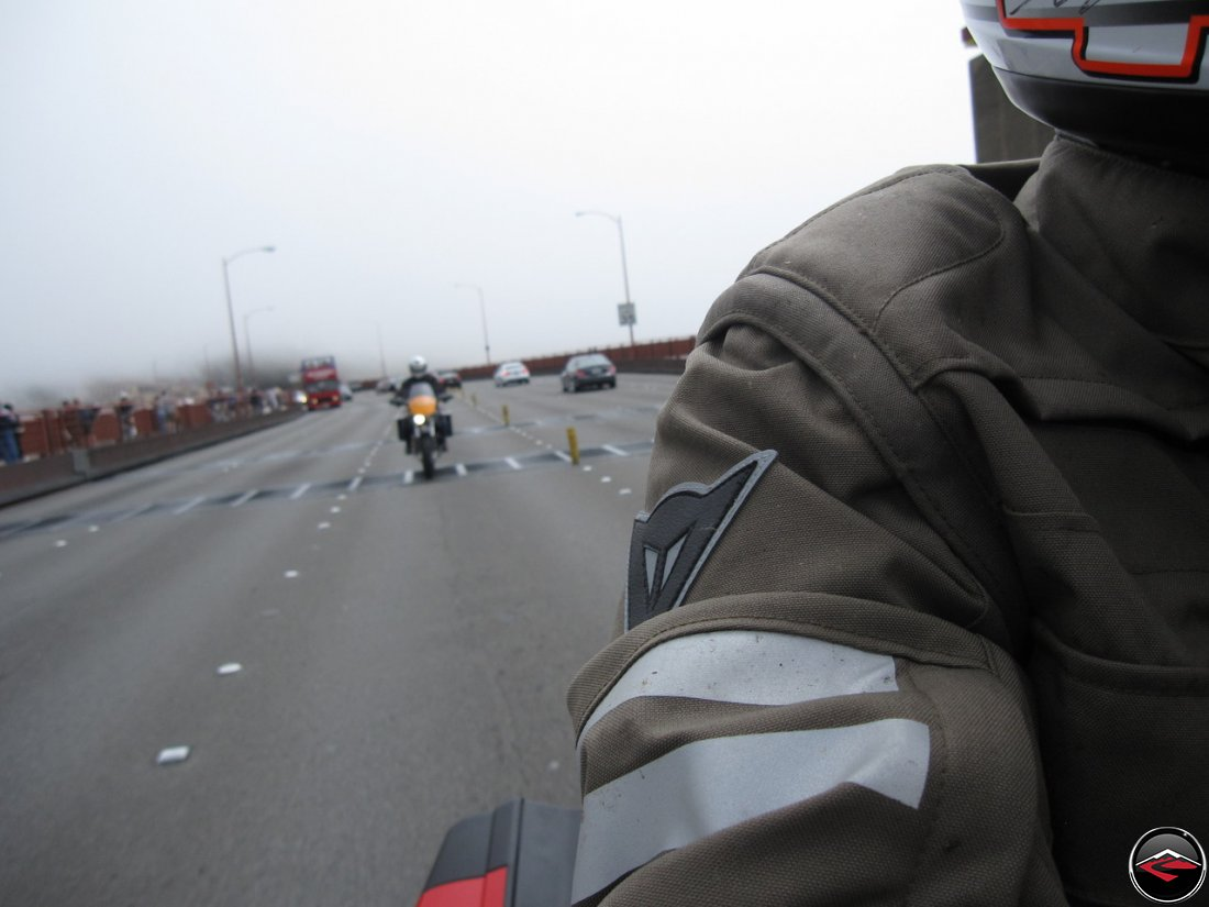 Riding a Ducati Multistrada 1200, being followed by Tom on his Buell Ulysses, crossing the Golden Gate Bridge in the fog. Wearing a Dianese D-Dry Motorcycle Coat