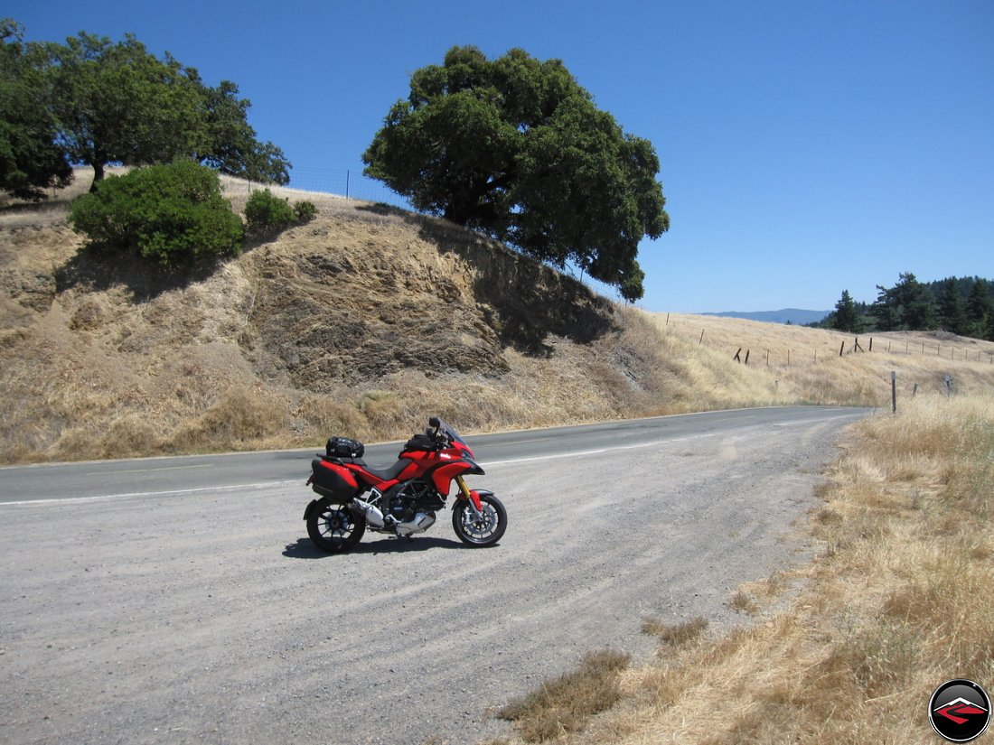 Ducati Multistrada 1200 parked in a pullout along California Highway 253, Boonville Road