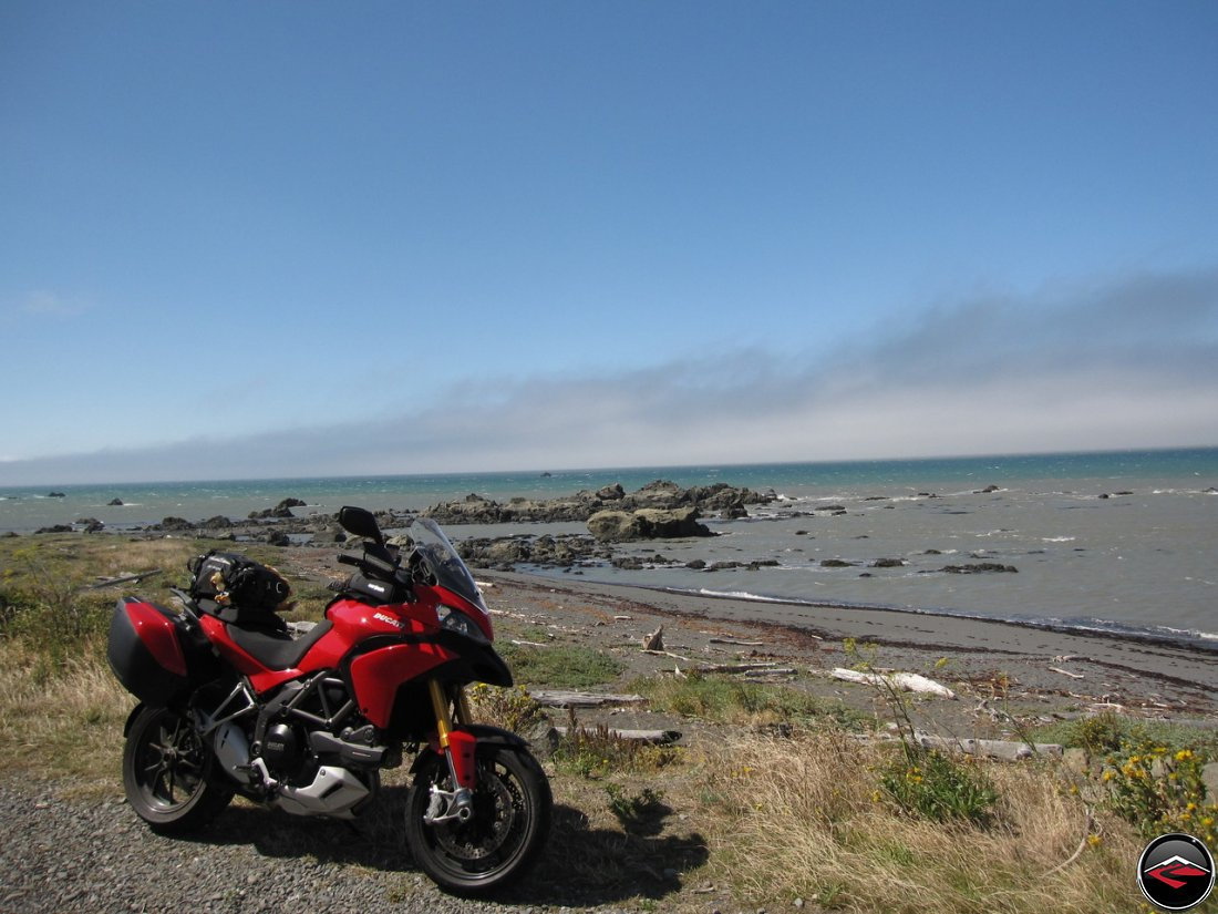 A Ducati Multistrada 1200 parked in a pullout along The Lost Coast of Northern California