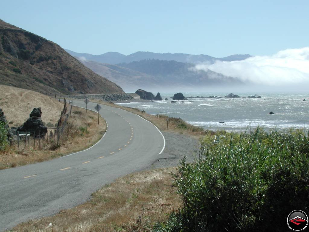 Looking south along Northern California's Mattole Road along the lost coast.