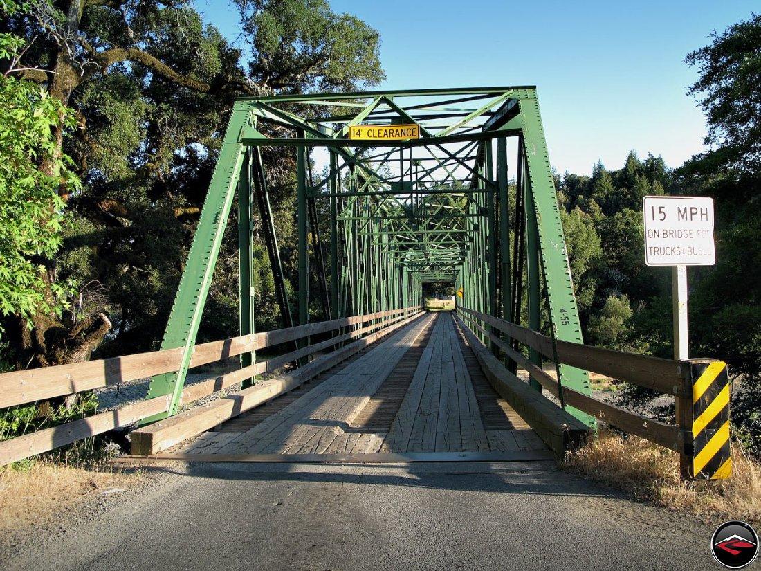 The single-lane Lost Coast Bridge, with wood decking in California, near Garbervielle