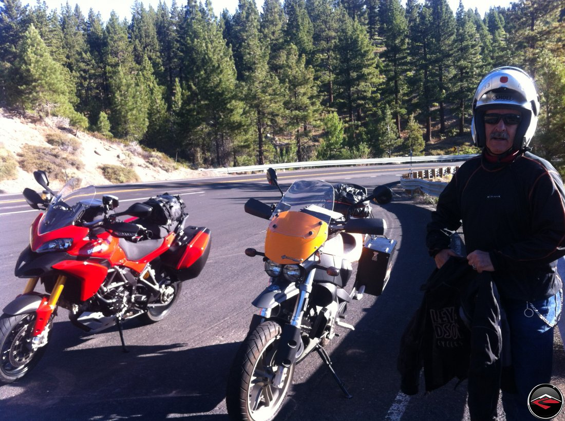 Ducati Multistrada 1200 and Buell Ulysses in a pullout on Nevada Highway 431, Mt. Rose Highway